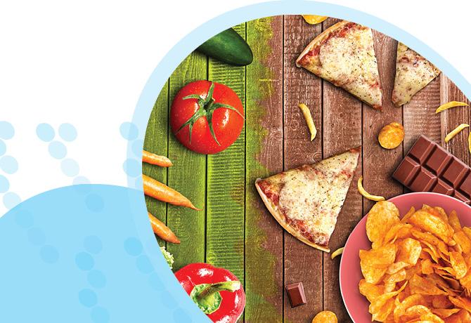 מזון מהיר מצד ימין, מזון בריא בצד שמאל
