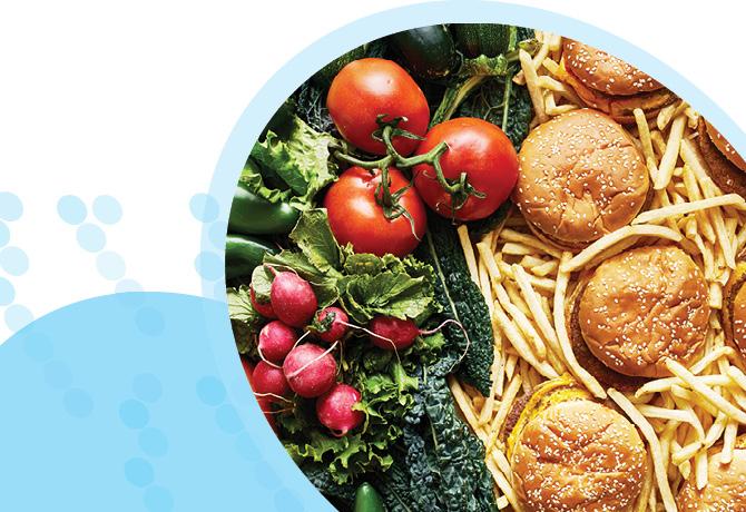 ירקות מצד שמאל לעומת מזון מהיר מצד ימין