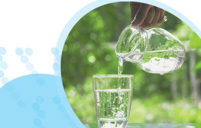 מזיגת מים מקנקן לכוס על רקע צמחייה ירוקה