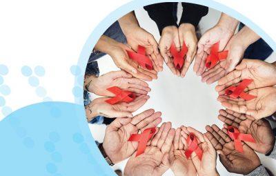 מעגל כפות ידיים שאוחזות סרט אדום למודעות למחלת האיידס